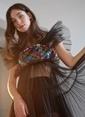 morhipoxsudi etuz Renkli Payetli Pilise Tül Detaylı Elbise Siyah
